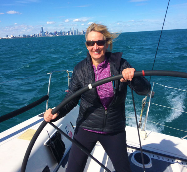 fiona sailing on Lake Michigan